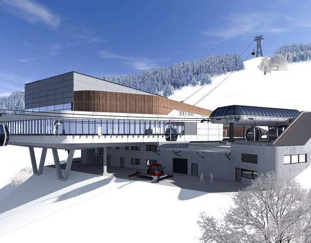 The top terminal of the MK Maiskogelbahn is simultaneously the bottom station of the 3K K-onnection, the tri-cable gondola lift up the Kitzsteinhorn | © Kitzsteinhorn