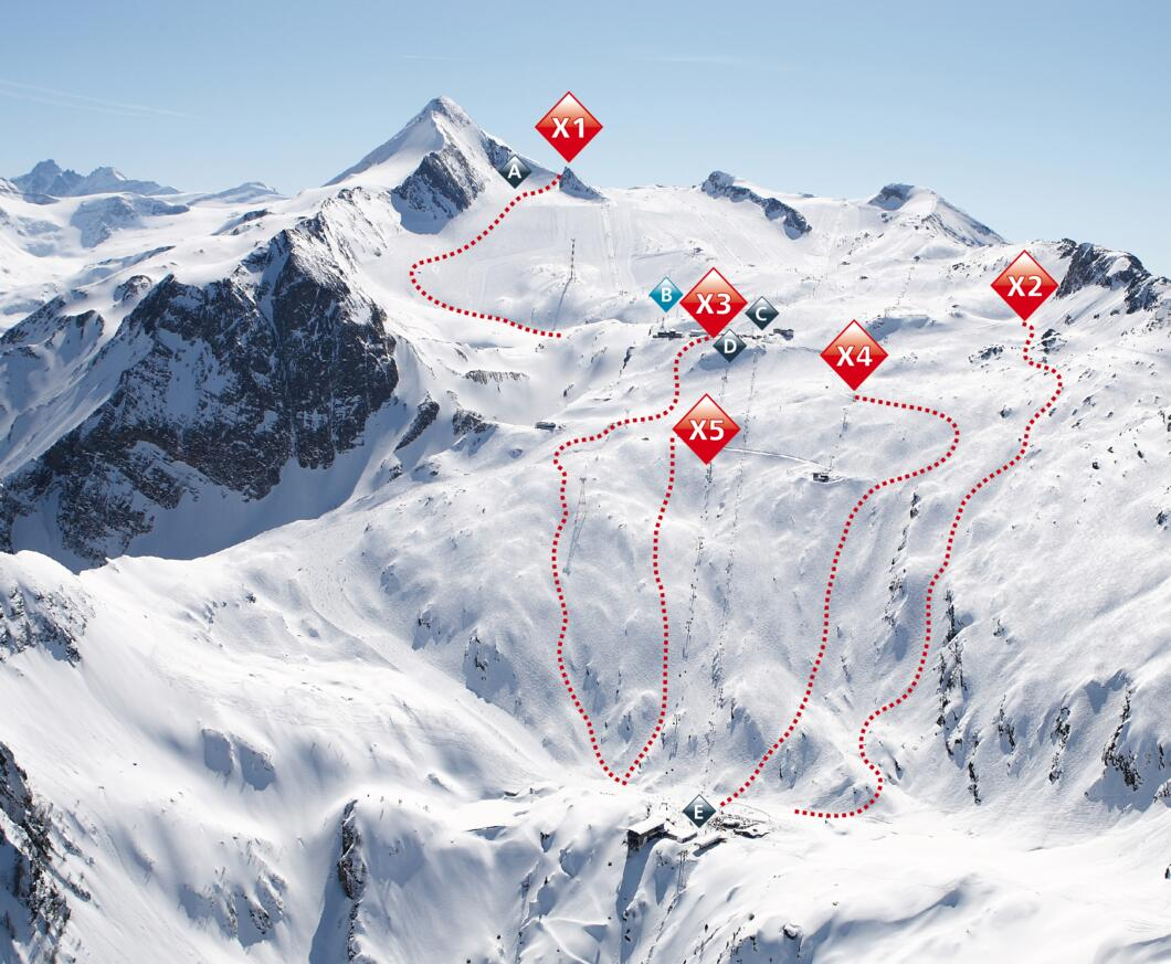 Freeride routes at the Kitzsteinhorn | © Kitzsteinhorn