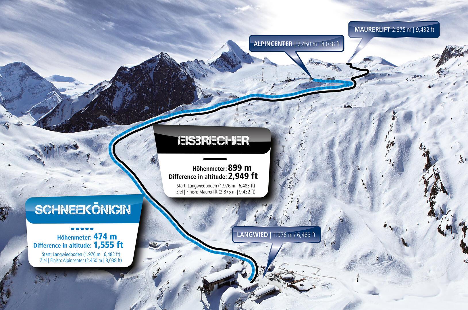 Ski touring routes at the Kitzsteinhorn in Kaprun, Austria